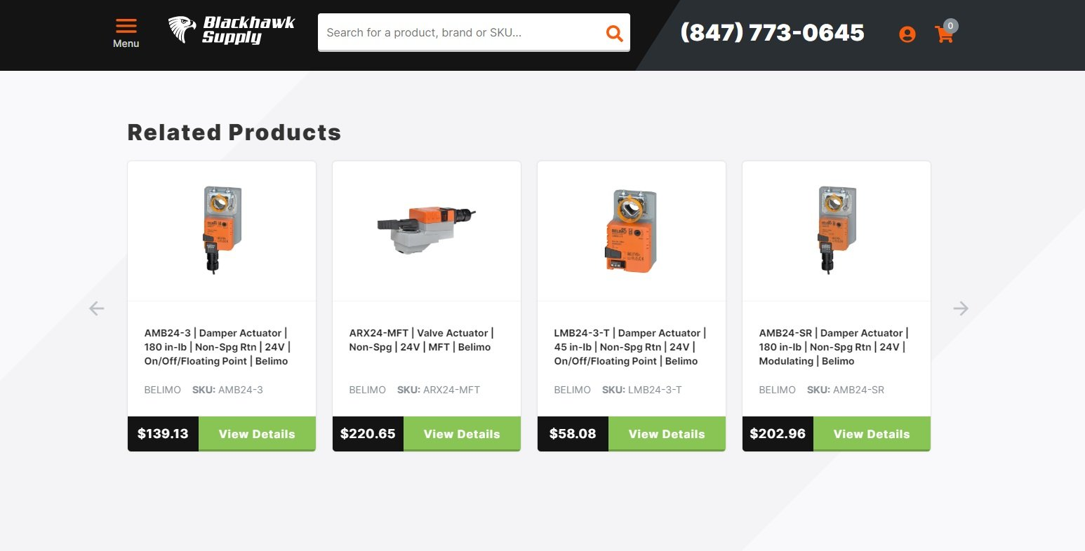Related products on the eCommerce website