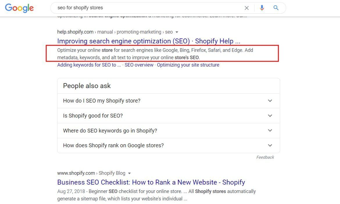 Snippet of a Shopify store on Google