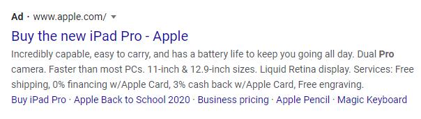 Apple good PPC example