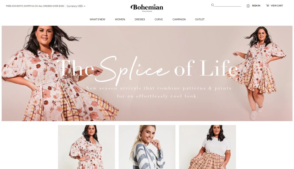 Bohemian Traders website design