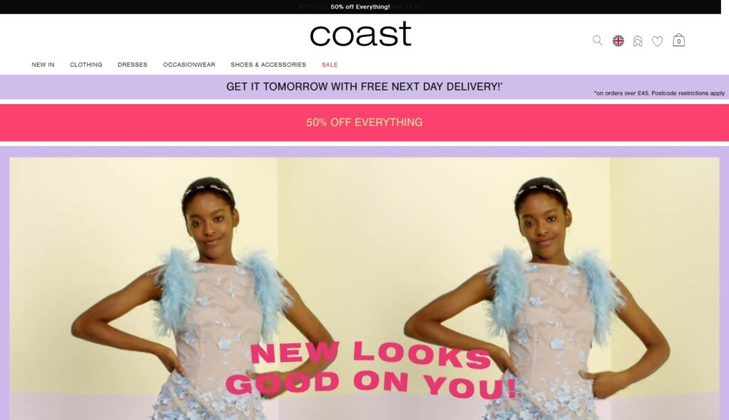 Coast Fashion website design
