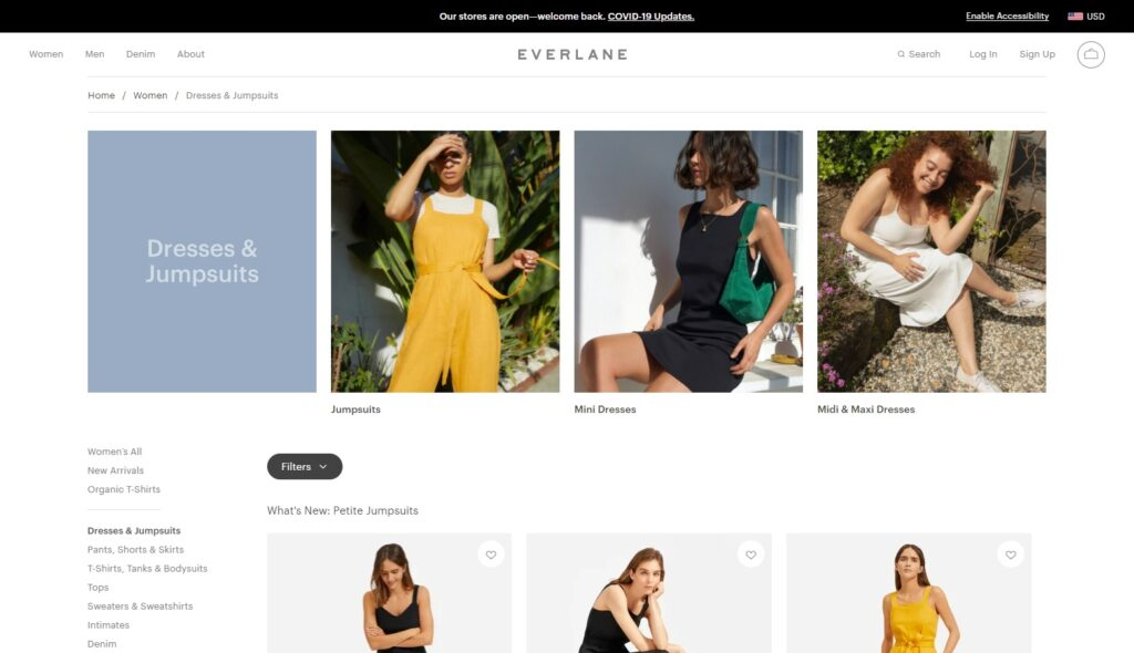 Everlane website structure