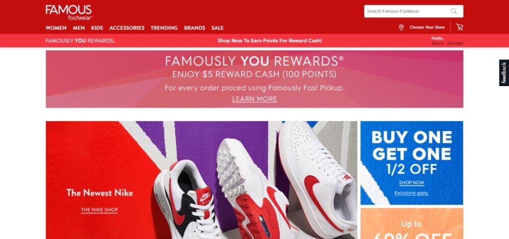 Famous Footwear best shoes website design
