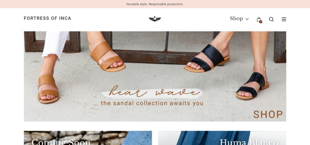 Fortress of Inca best shoes website design