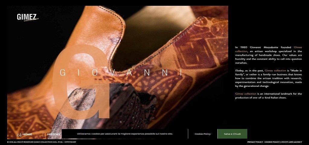 Gimez best shoes website design
