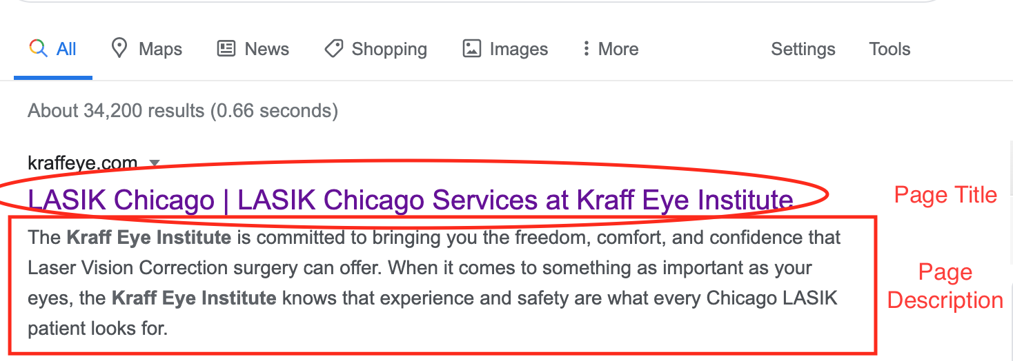 A page titile and description in Google results