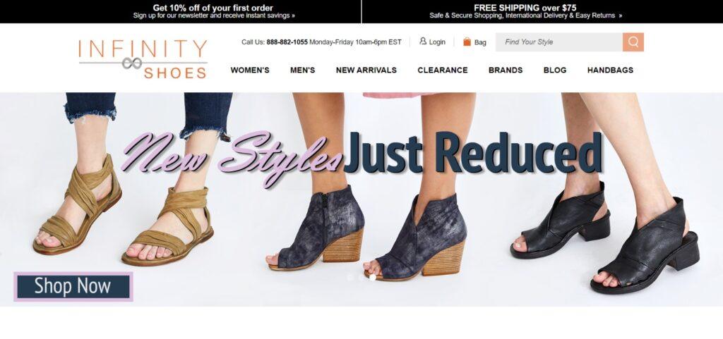 Infinity Shoes best website design