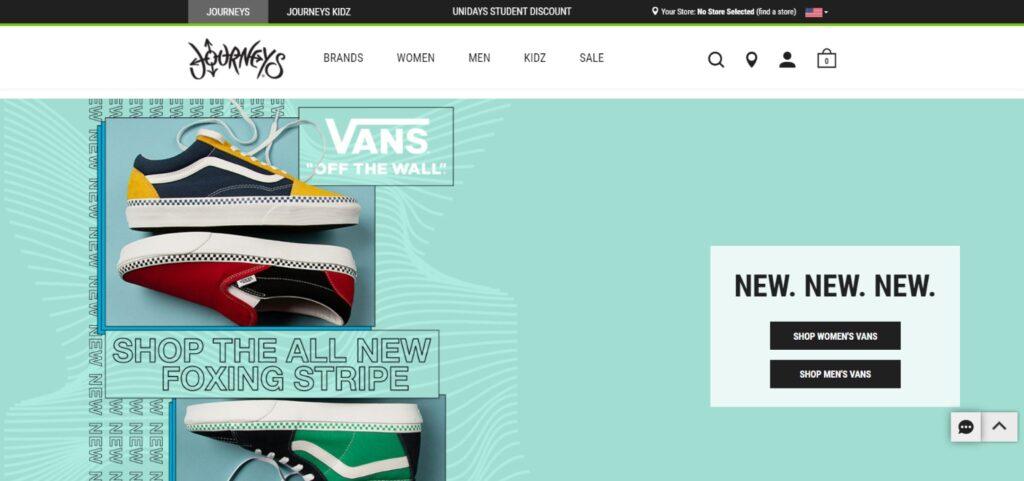 Journeys best shoes website design