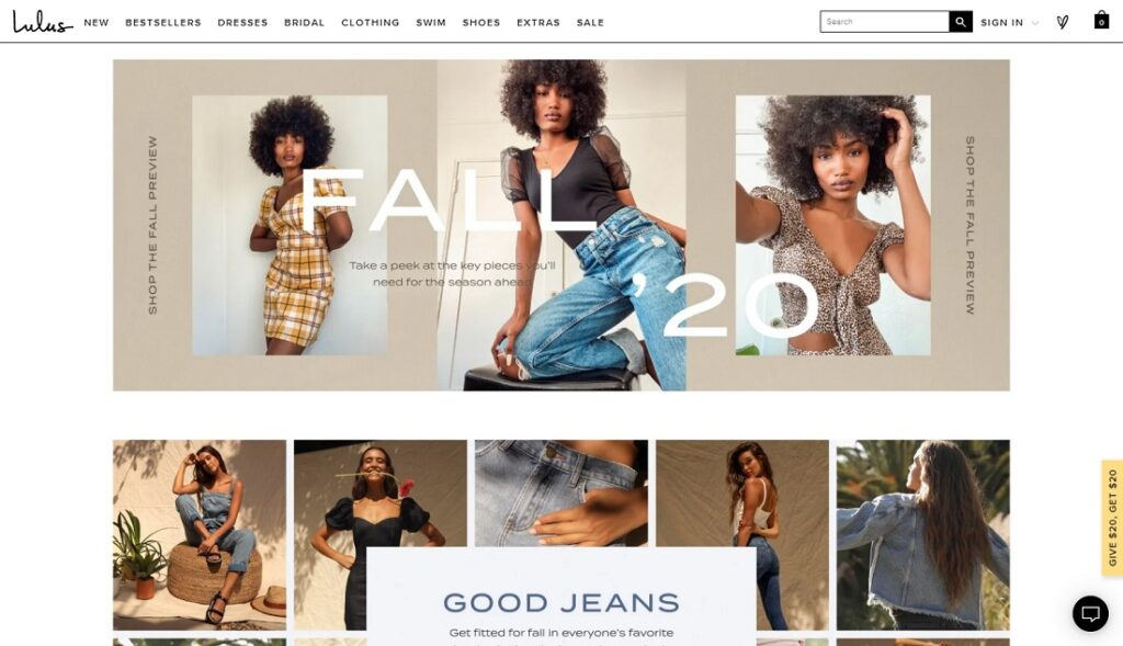 Lulus website design