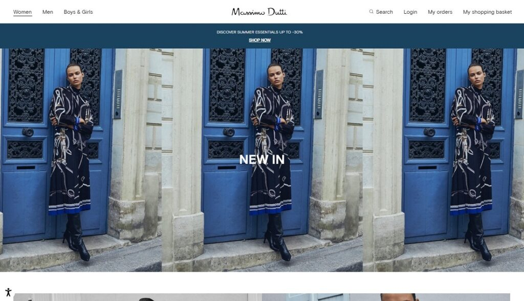 Massimo Dutti website design