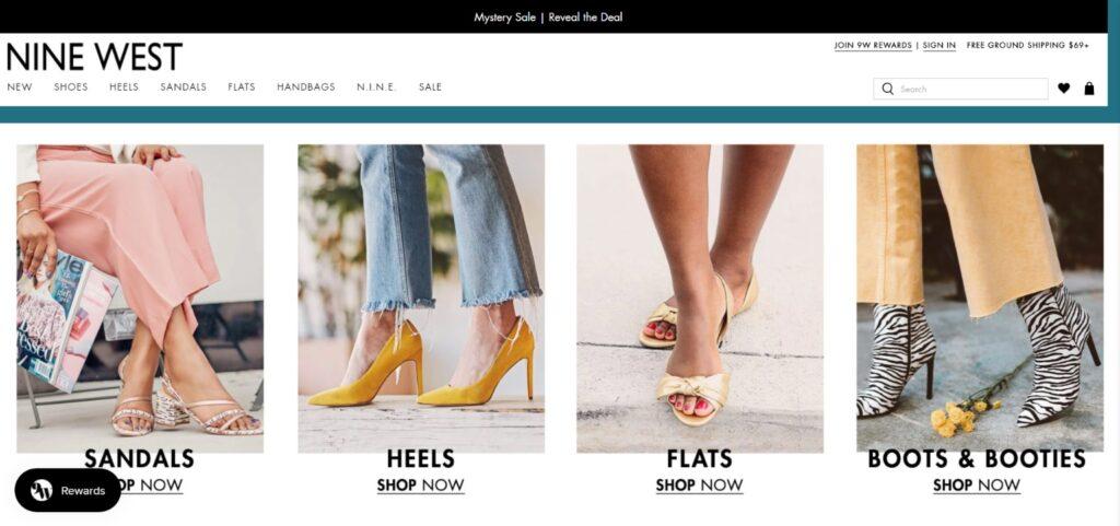 Nine West best shoes website design