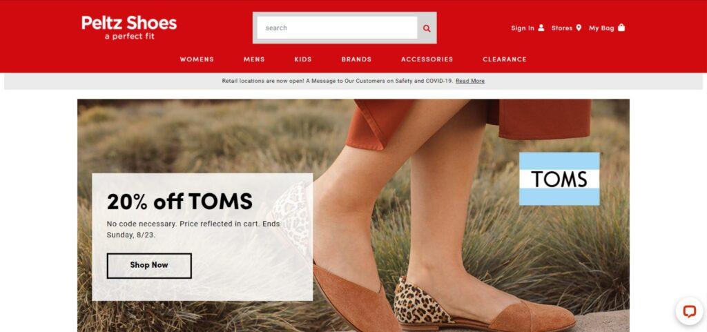 Peltz Shoes website design