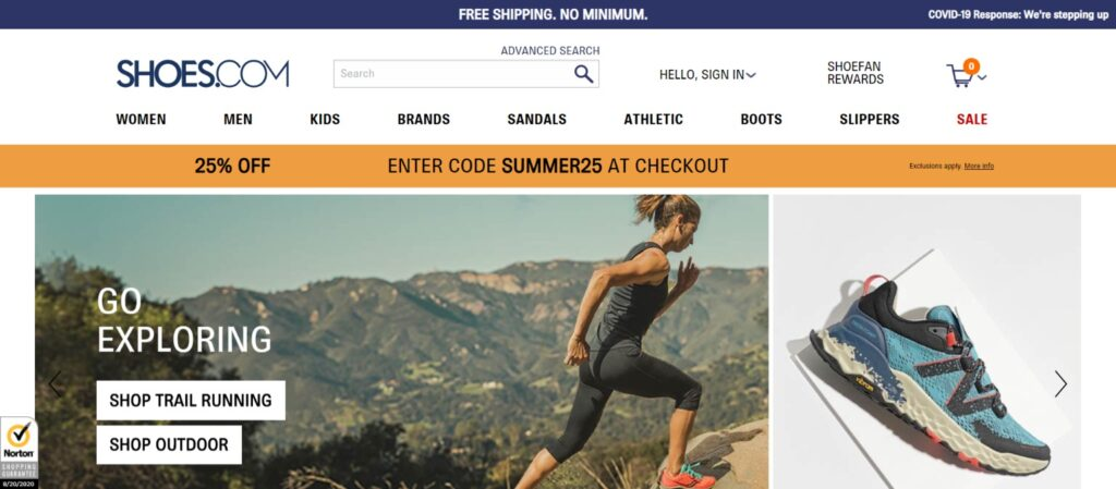 Shoes.com best website design
