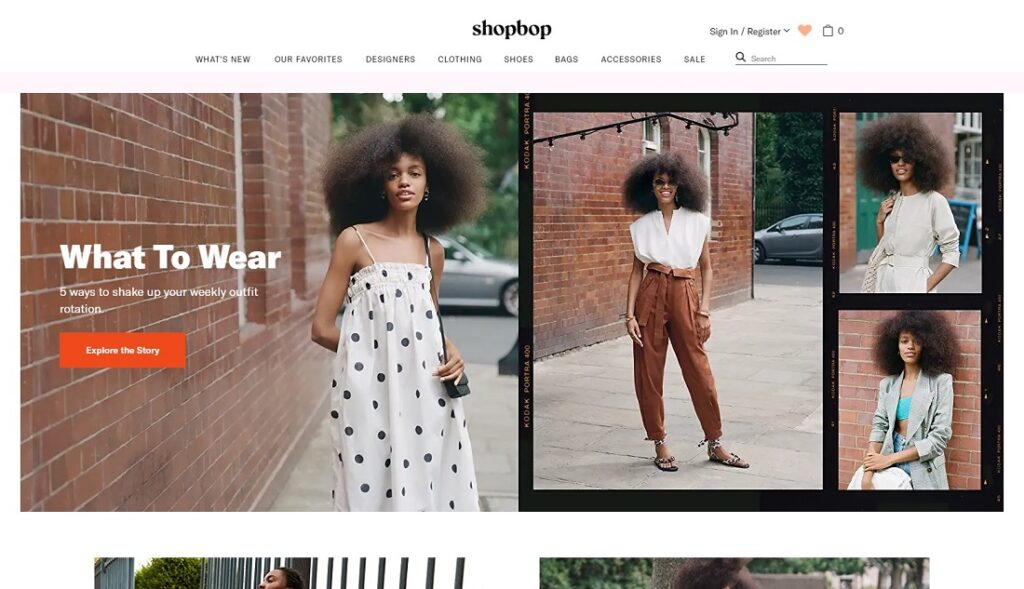 Shopbop website design