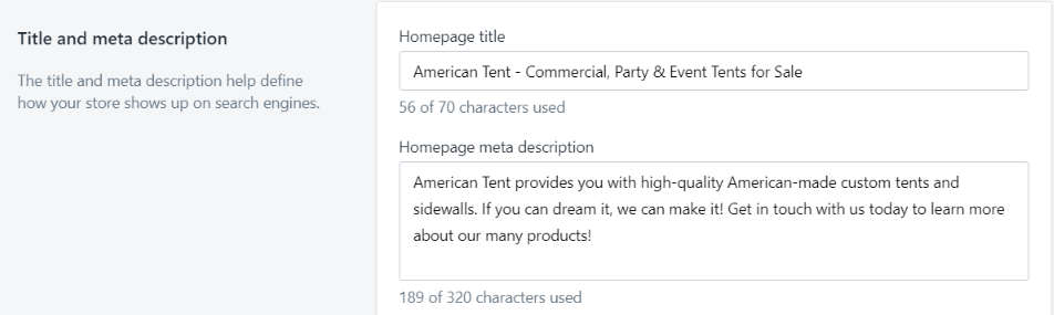 Meta description for your Shopify store
