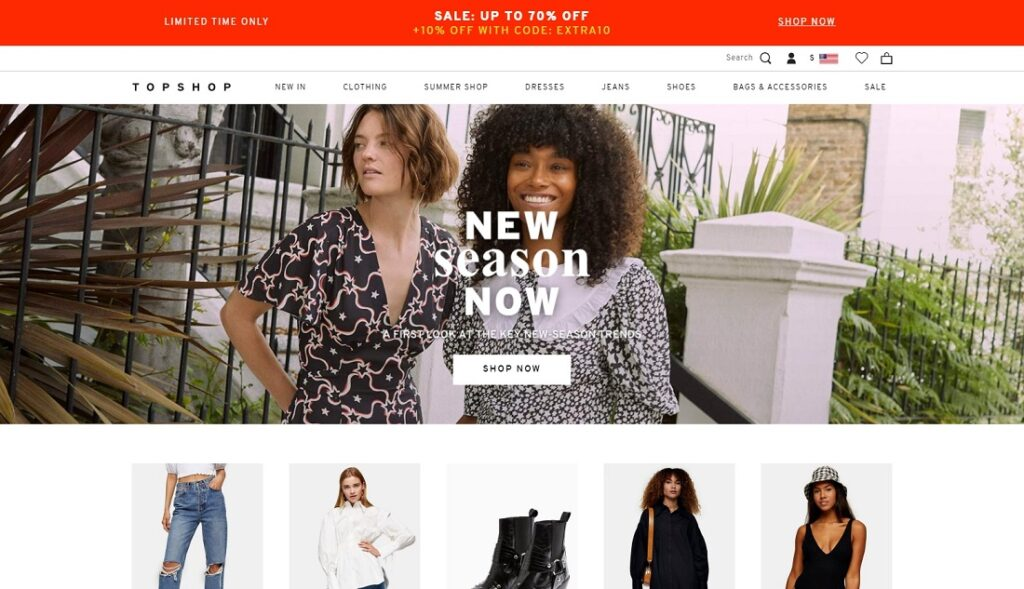Topshop website design