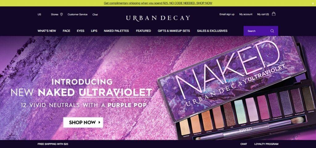 Urban Decay cosmetics website