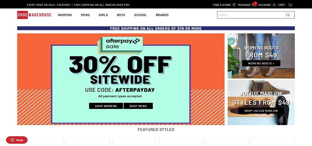 Shoe Warehouse best shoes website design