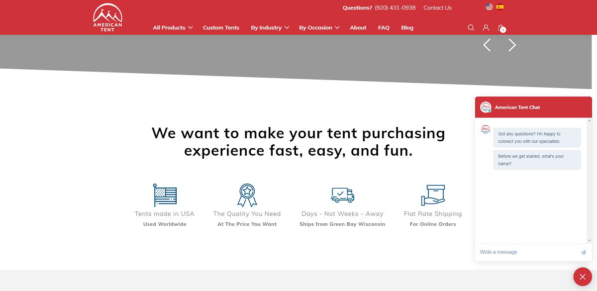 American Tent website development chatbot