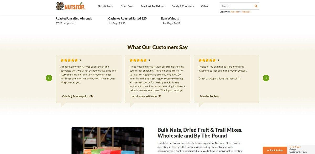 NutStop website design social proof