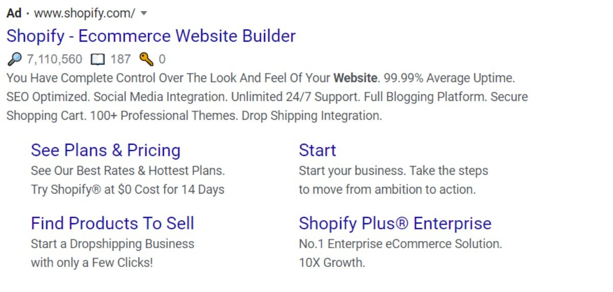 shopify ecommerce search result with ad extension