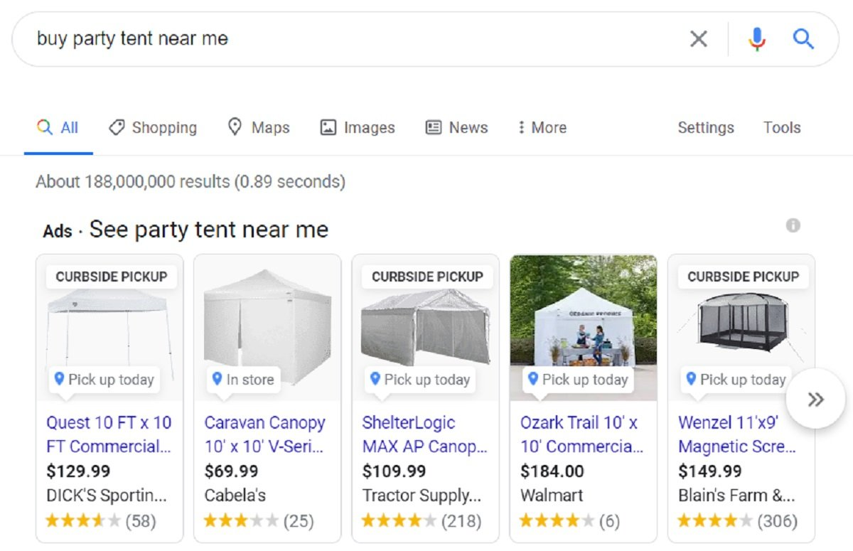 party tent google shopping ads