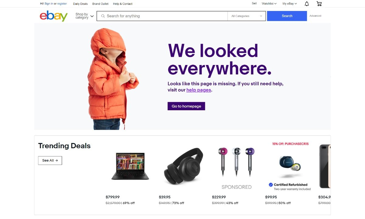 ebay 404 selling page