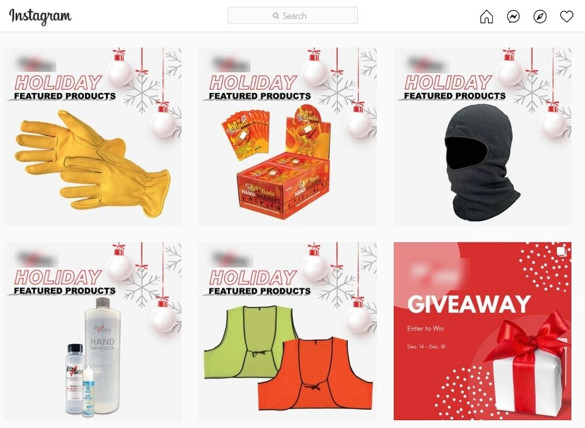 eCommerce company publishing 5 product posts in a row on Instagram