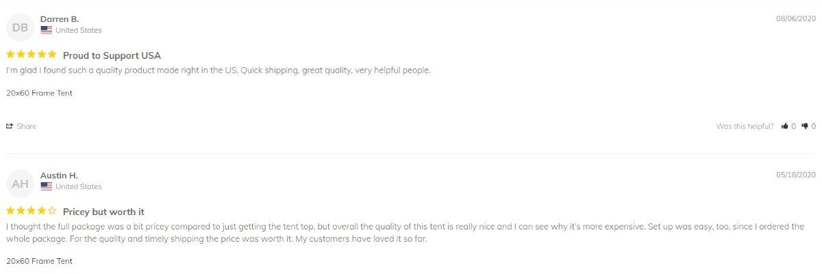 reviews on tents from customers