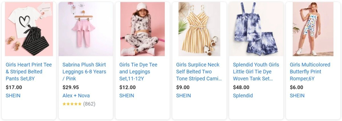 google shopping ads of clothes for kids