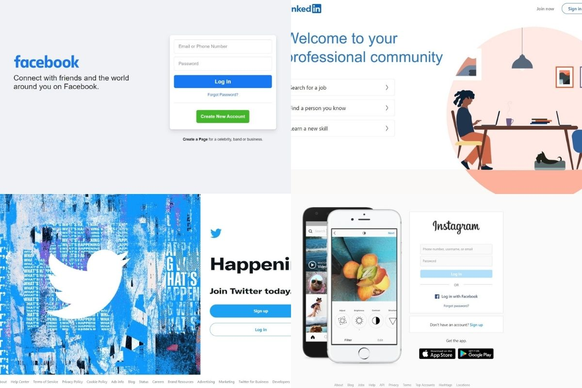 social media website screenshots