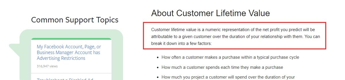 facebook customer lifetime value