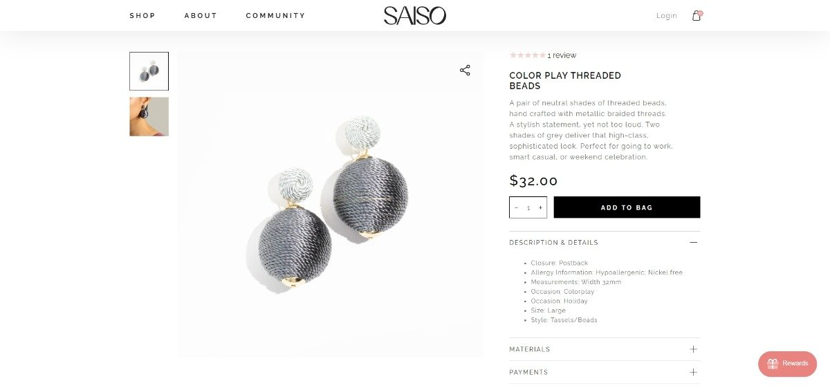 earring product description