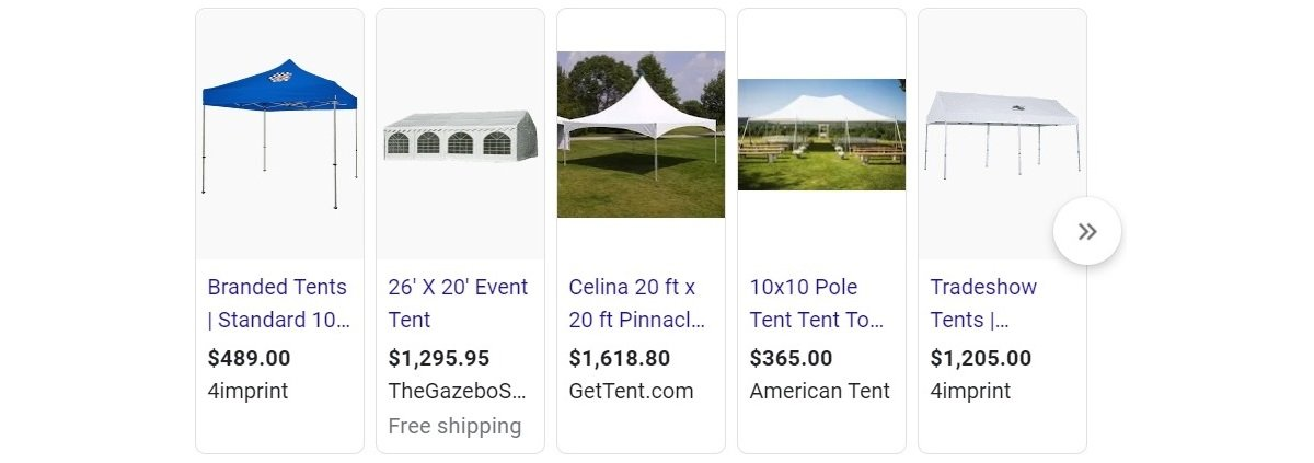buy tents google shopping ads