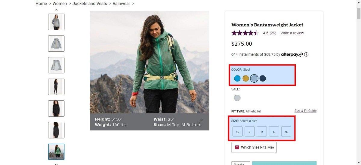 ecommerce clothing size availability